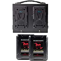 IndiPRO Tools 2 x Micro-Series 98Wh Li-Ion V-Mount Batteries with Dual Battery Charger Kit (RED Compatible)
