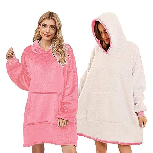 YELIN Sudadera con capucha para mujer, manga larga, longitud media, informal, doble capa, franela, suelta, sudadera con capucha Rosa. Talla única