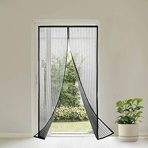Virsus Zanzariera Magnetica con misura 110 x 220 cm tenda a 2 pannelli per Porte Finestre Balcone Anti Zanzare e insetti per Cucina, Soggiorno colore nero