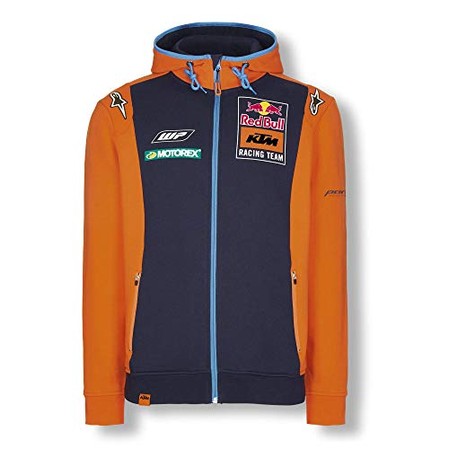 Red Bull KTM Official Teamline Zip Sudadera con Capucha, Azul Hombres Medium Hoodie, KTM Racing Team Original Ropa & Accesorios