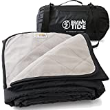 Brawntide Large Outdoor Waterproof Blanket - Great Beach Blanket, Picnic Blanket, Camping Blanket, Extra Thick Fleece, Warm, Windproof, Sandproof, Ideal for Parks, Sports, Games, Pets, Dogs (Black)