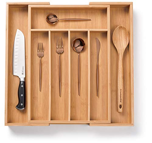 Bellemain Bamboo Expandable Utensil - Cutlery and Utility Drawer Organizer 7 slot