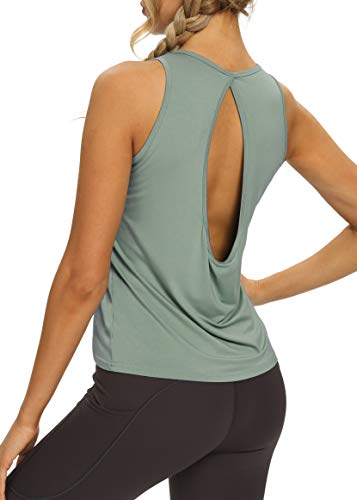 Bestisun Workout Athletic Gym Yoga Shirts Running Tank Tops Exercise Summer Clothes Yoga Tops for Women Loose Fit Gray Green XL
