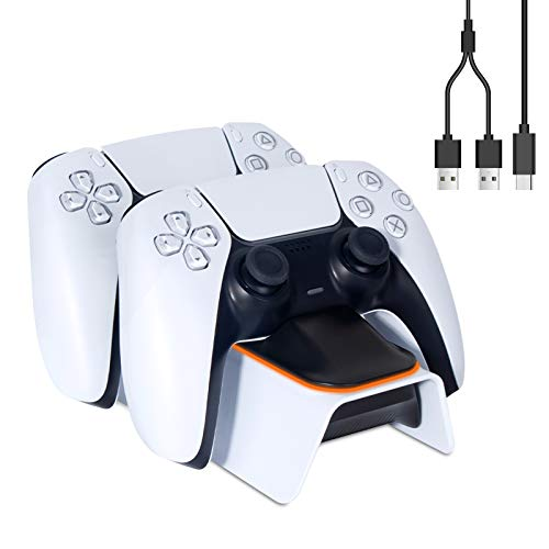 Linkstyle Upgraded PS5 Controller Charger, Playstation 5 Charging Station Dock with LED Indicator Dual USB Type C Fast Charging with Safety Chip Protection