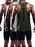 Neleus Men's 3 Pack Dry Fit Workout Gym Muscle Tank Tops,5031,Black,Grey,Olive Green,S,EU M