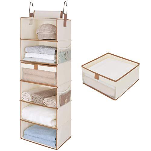 StorageWorks 6-Shelf Large Hanging Closet Shelves, Hanging Closet Organizer with 1 Drawer, Canvas, Ivory White, 13.6
