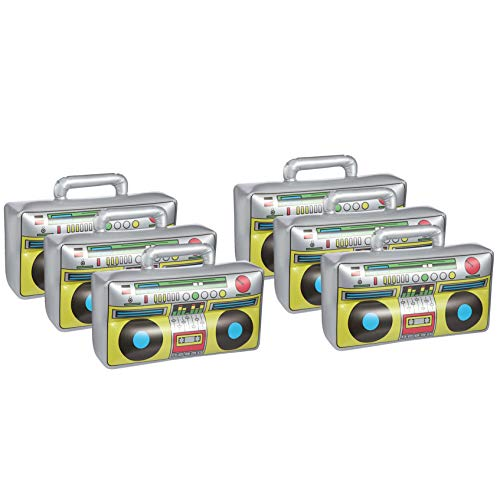 6 Pcs Inflatable Boombox Toy, 80's 90's Boom Box Party Supplies for Old School Themed Party, Hip Hop Accessories and Rappers B-Boys Party Decoration(16.5 Inches)