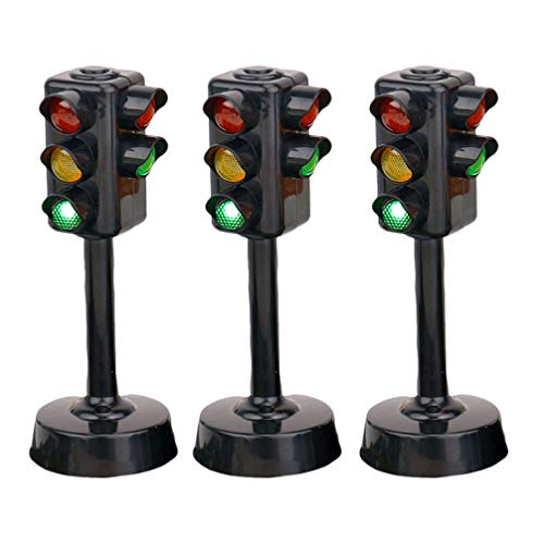 NUOBESTY Traffic Signal Light Toy, Toy Traffic Lights Model Kids Early Educational Toy,3 Pieces