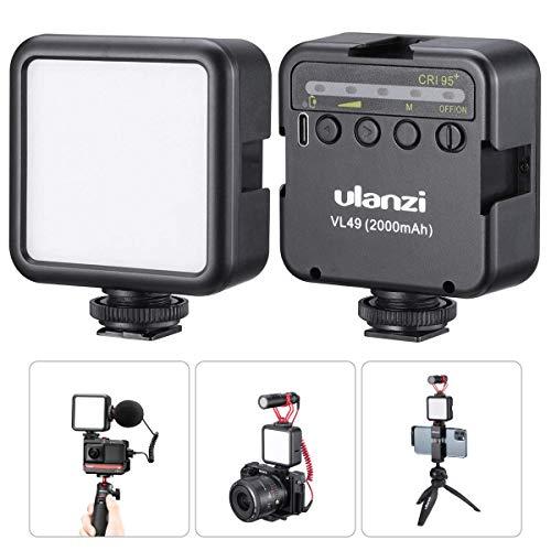 Luz de Video LED ULANZI VL49 2000mAh con 3 Soportes de Zapata fría Panel de luz Recargable para dji OSMO Mobile 3 Zhiyun Smooth 4 Sony RX100 VII Canon G7X Mark III A6600 para GoPro 8 Vlog