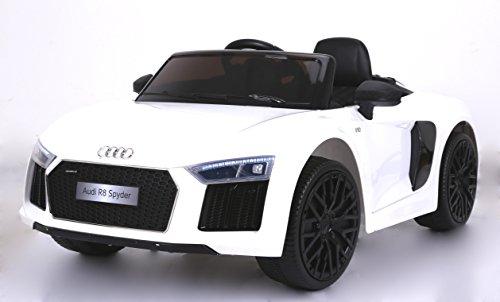 RIRICAR Audi R8 Spyder Nuovo Macchina Elettrica per Bambini, Bianco, Originale Licenza, Batteria, Porte di Apertura, Sedile in Pelle, 2X Motore, Batteria da 12 V, Telecomando da 2,4 GHz
