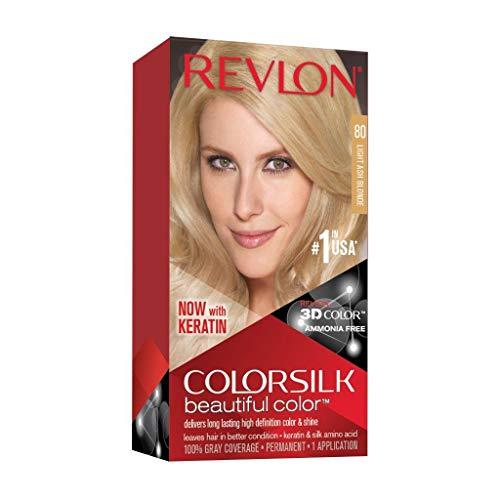 Revlon ColorSilk Tinte de Cabello Permanente Tono #80 Rubio Claro Cenizo