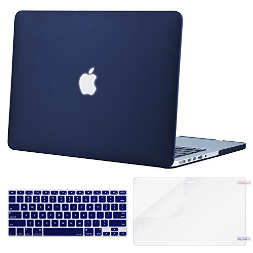 MOSISO Case Only Compatible with Older Version MacBook Pro Retina 13 inch (Models: A1502 & A1425) (Release 2015 - end 2012), Plastic Hard Shell Case & Keyboard Cover & Screen Protector, Navy Blue