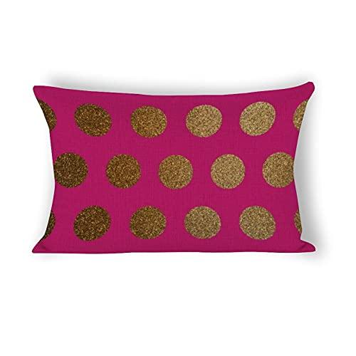 Funda de almohada de 50,8 x 76,2 cm, moderna y elegante, rosa, rosa, magenta, dorado, con lunares, decorativa, algodón, lino, casa de campo, para sofá, ropa de cama, coche y decoración del hogar