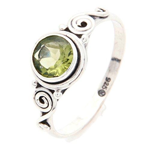 Ring Silber 925 Sterlingsilber Peridot grün Stein (Nr: MRI 115), Ringgröße:62
