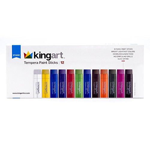 KingArt Studio Tempera Paint Sticks, Set of 12, Unique Colors