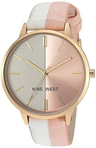 Nine West Reloj de pulsera para mujer con correa de piel acentuada, 10, Blanco/Rosa Claro/Dorado