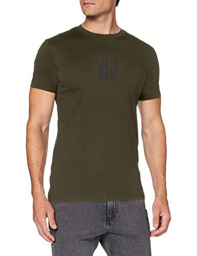 Calvin Klein Small Center CK Box tee Camisa, Deep Depth, L para Hombre