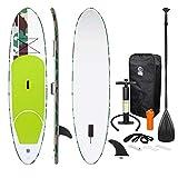 ECD Germany Tavola Gonfiabile Paddle Board Stand Up (SUP)-308 x 76 x 10 cm - Verde - Diversi Modelli Pagaia in alluminio/PVC - Include Pompa Borsa da trasporto e Accessori - Tavola Paddle Surf (SUP)