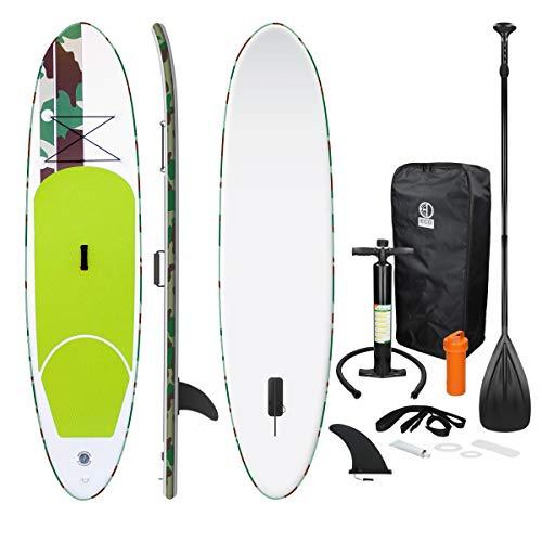 ECD Germany Tabla Hinchable Paddle Surf/Sup Paddel Surf - 308 x 76 x 10 cm - verde - PVC - varios modelos - incluye Bomba, Mochila, Aleta Central Desprendible, Kit de Reparación, Remo Ajustable