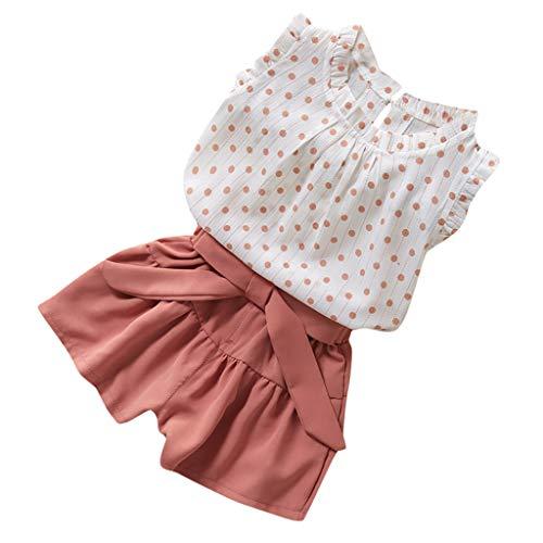 Moneycom❤Enfants Fille Dot sans Manches Veste t-Shirt Couleur Pure Frenulum Shorts Costume Rose(4-5 Ans)