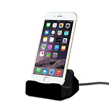 CABLESETC Charge Sync Stand USB Desktop Dock Cradle for Apple iPhone Xs Max XR X 8 7 6S 6 Plus SE iPad Mini Air (Black)