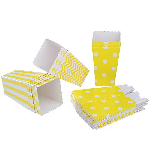 Diealles Popcorn Boxes, 36 Stück Popcorn Tüte Popcorn Candy Boxen Behälter für Party Snacks, Süßigkeiten, Popcorn und Geschenke - Gelb