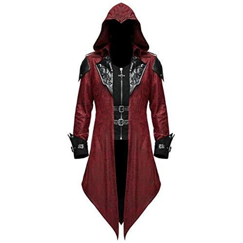 Chaqueta de cuero de longitud media Steampunk gótico Vintage para hombre, disfraz de uniforme victoriano para adultos, abrigo de esmoquin para Halloween