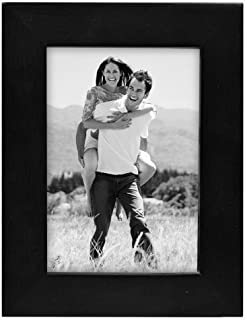 Malden 3.5x5 Picture Frame - Wide Real Wood Molding, Real Glass - Black