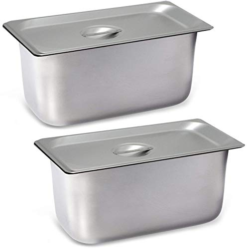 """2 Pack Steam Table Pan Third Size with Cover, Hotel Pan is 6"""" Deep, Made from 25 Gauge Stainless Steel, NSF Listed."""