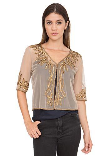 likemary Embellished Sequin & Bead Bolero Shrug Crop Jacket for Women Gold L