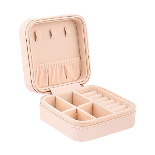 Aspiree Caja Joyero Multi-función Organizador de Joyas Portátil Pequeña Cuero de PU Mujer Joyero de Viaje para Almacenamiento Anillos, Pendientes, Pulseras y Collares,Rosado