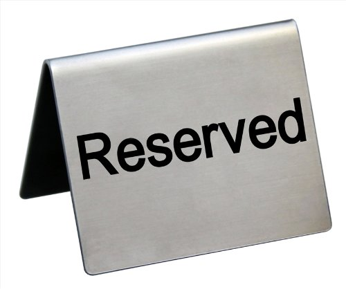 New Star Foodservice 26863 6 pcs Tent Sign S/S'Reserved' 2x1.5'