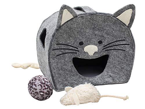Tiger Cat Spielhaus Charly Plüsch 100% Bio-Baumwolle Katzenspielzeug Katzenhaus Maus Ball Glöckchen