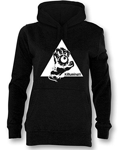 Angry Shirts Illuminati Killuminati Faust - Damen Hoodie Schwarz - Weiß in Größe S