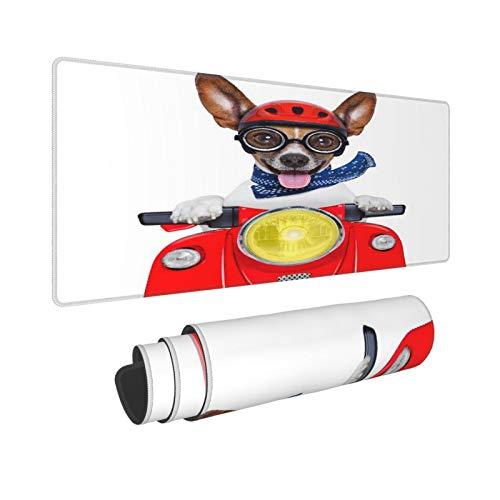 Extra Groß Mauspad mit Genähten Kanten,L-80 x 30 x 0.3cm,Roter lustiger verrückter dummer Motorrad-Hundehelm und her,Schreibtisch Mat Personalisiert für Die Arbeit Spiel Büro Computer Laptop