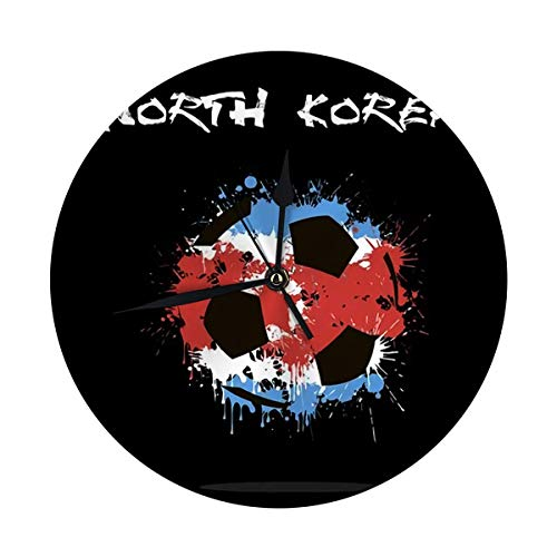 FETEAM Reloj de Pared Redondo Balón de fútbol Abstracto Bandera de Corea del Norte Decorativa para el hogar, la Oficina, la Escuela 9.8IN