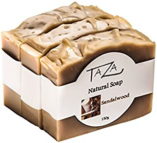 Premium Taza Sandalwood Natural Soap (Pack of 3) Each 5.3 oz (150 g) ♦ For Radiant Glowing Skin ♦ Contains: Coconut, Olive, and Palm Fruit Oils, Mango Seed Butter, Sandalwood Powder, Kaolin Clay