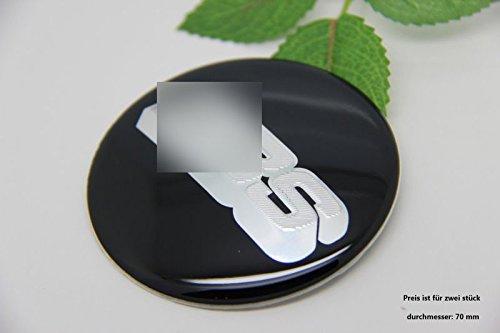 R215 BB 2 stück Felgendeckel schwarz silber 3D Emblem Abziehbild Auto Aufkleber Nabendeckel Radkappen Nabenkappen 70 mm