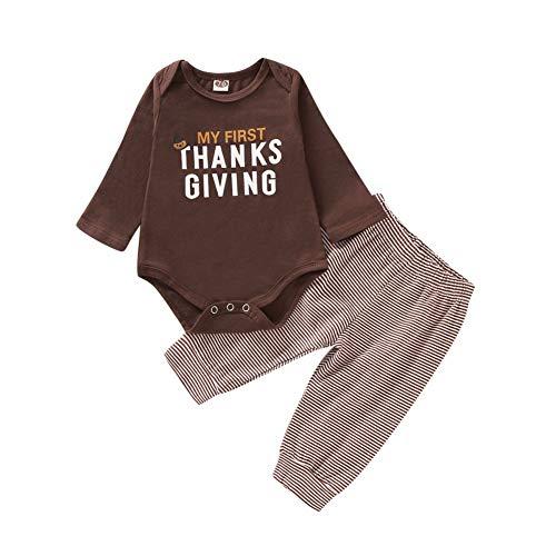 Gyratedream Lente Herfst Casual Mode Baby Letter afdrukken Bodysuit En Gestreepte Broek Kids Tweedelige Outfit Set 0-18 Maand