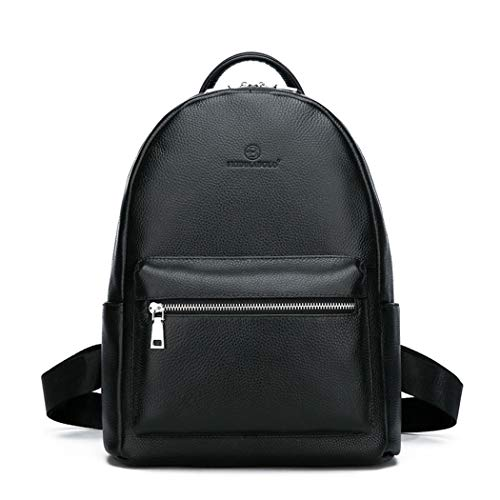 Genuine Leather Men Laptop Backpack School Youth Leather Backpacks for Teenage Casual Daypacks Black 30 x 36 x 13 cm