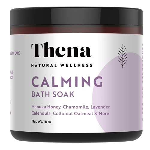 Organic Calming Bath Therapy 25-in-1 100% Natural Intense Hydrating Manuka Honey Calendula Finely Milled Colloidal Oatmeal Dead Sea Salt Lavender Essential Oil