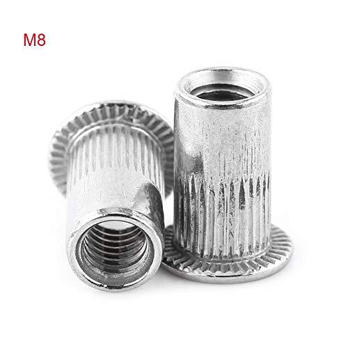 20 stücke M3-M8 Flachkopf Gewinde Nietmuttern Edelstahl Niet Blindmuttern Aluminium Nutserts(M8)