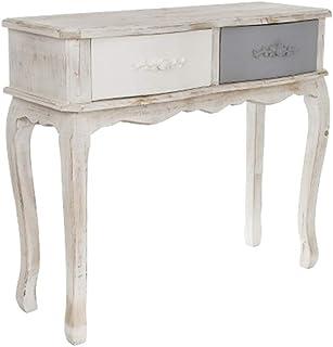 elbmöbel - Consola de madera con 2 cajones color blanco