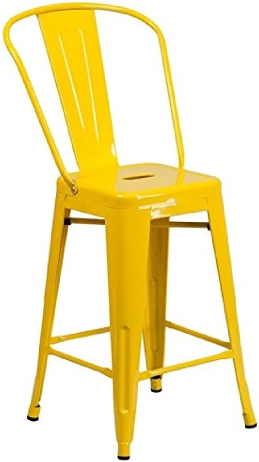 Bowery Hill Metal 24'' Counter Stool in Yellow
