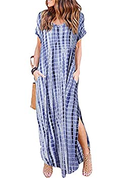 Women Summer Casual Maxi Dress Loose Pockets Short Sleeve Split Boho Dresses Navy Tiedye L