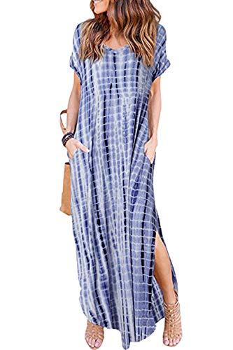 Women Summer Casual Maxi Dress Loose Pockets Short Sleeve Split Boho Dresses Navy Tiedye M