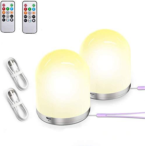 Luce Lampada Notturna Bambini, LED Ricaricabile RGB, 10 Colori, Telecomando, 2 pezzi