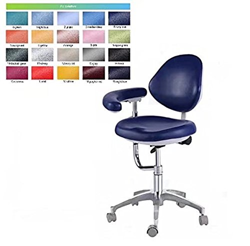 BoNew Dental Stool Assistant Stool Dental Assistant Chair with Armrest PU Leather Height Adjustable