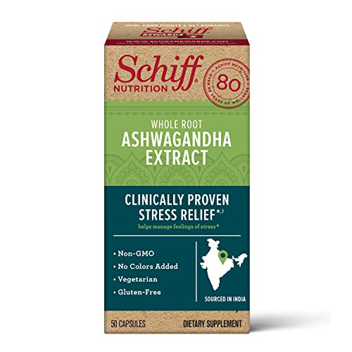 Schiff Ashwagandha Extract Capsules, (50 count in a bottle) $7.15