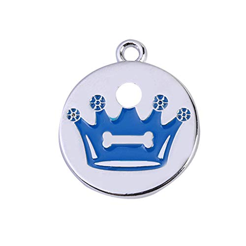 Pet ID Tags for Dog Cat Engraved Personalized Identification Durable & Long Lasting Dog Tags Cat Tags Mini More Crown Print Diamond Dog ID Name Tags Jewelry Necklace (Blue)